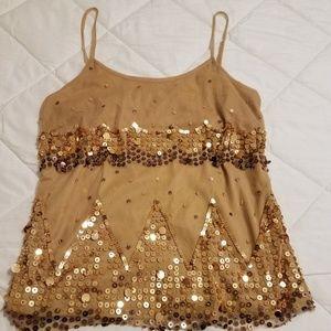 Midnight Velvet Gold Sequin Top.  Medium